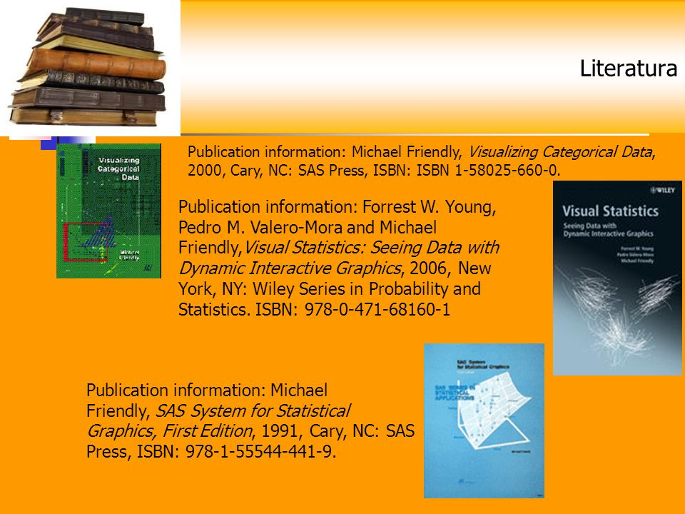 Literatura Publication information: Michael Friendly, Visualizing Categorical Data, 2000, Cary, NC: SAS Press, ISBN: ISBN 1-58025-660-0.