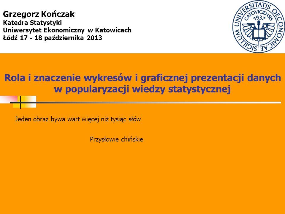 Grzegorz Kończak Katedra Statystyki. Uniwersytet Ekonomiczny w Katowicach. Łódź 17 - 18 października 2013.