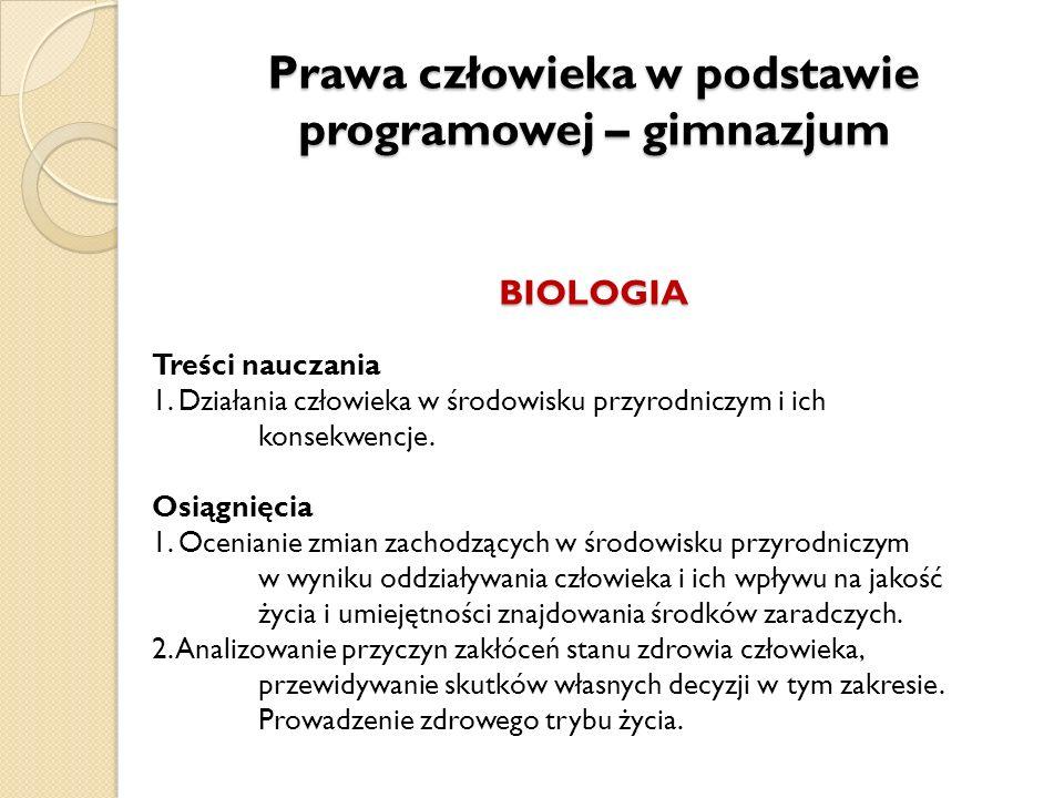 Prawa człowieka w podstawie programowej – gimnazjum BIOLOGIA