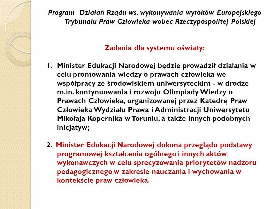 Zadania dla systemu oświaty: