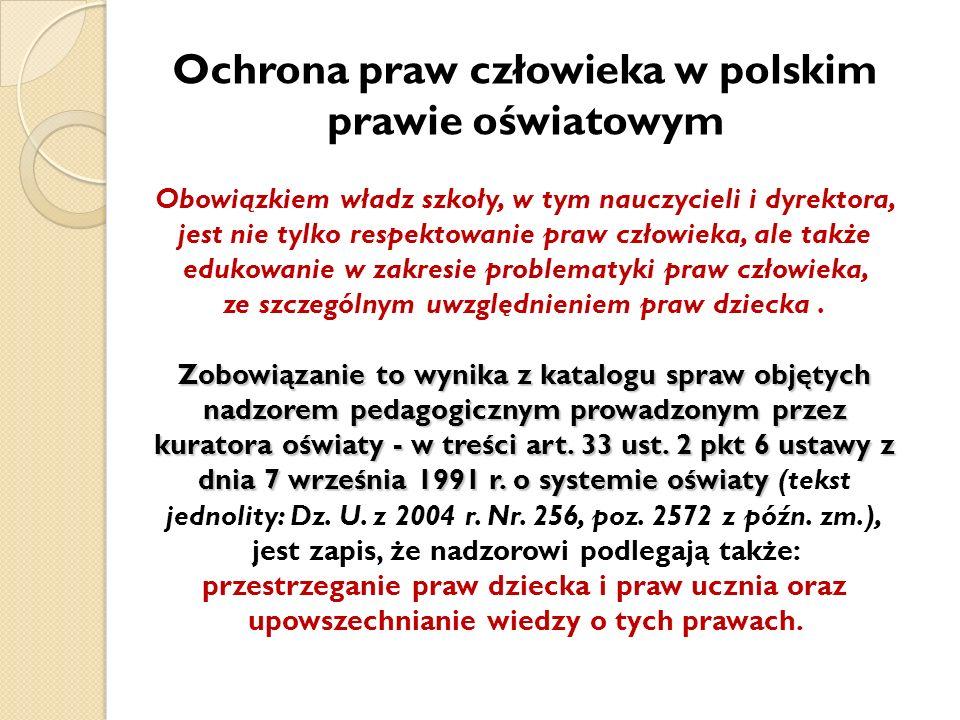 Ochrona praw człowieka w polskim prawie oświatowym