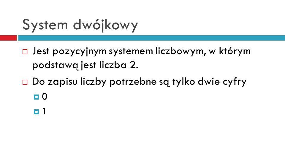 System dwójkowy Jest pozycyjnym systemem liczbowym, w którym podstawą jest liczba 2. Do zapisu liczby potrzebne są tylko dwie cyfry.