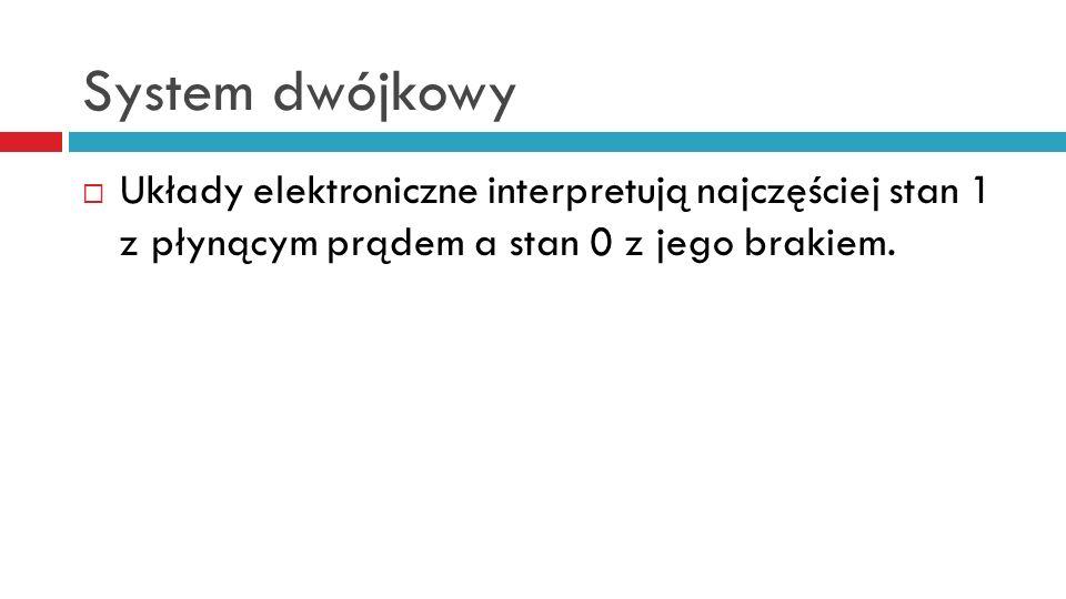 System dwójkowy Układy elektroniczne interpretują najczęściej stan 1 z płynącym prądem a stan 0 z jego brakiem.