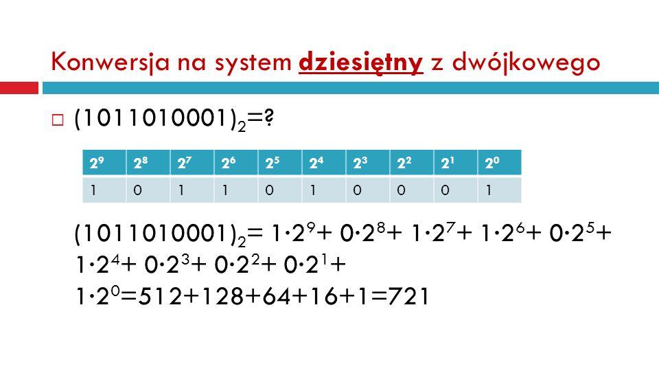 Konwersja na system dziesiętny z dwójkowego