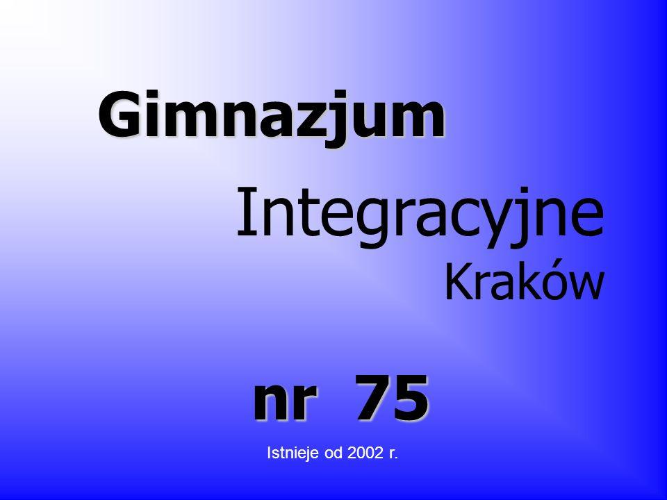 Gimnazjum Integracyjne Kraków nr 75 Istnieje od 2002 r.