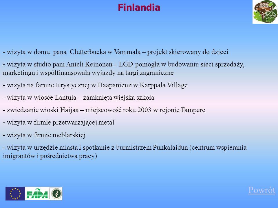 Finlandia - wizyta w domu pana Clutterbucka w Vammala – projekt skierowany do dzieci.