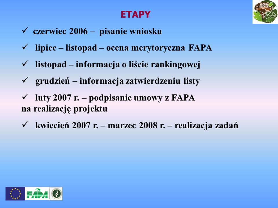 ETAPY czerwiec 2006 – pisanie wniosku. lipiec – listopad – ocena merytoryczna FAPA. listopad – informacja o liście rankingowej.