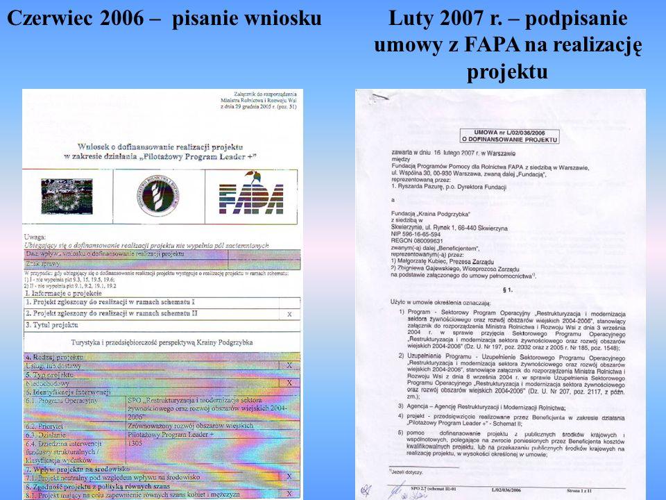 Luty 2007 r. – podpisanie umowy z FAPA na realizację projektu