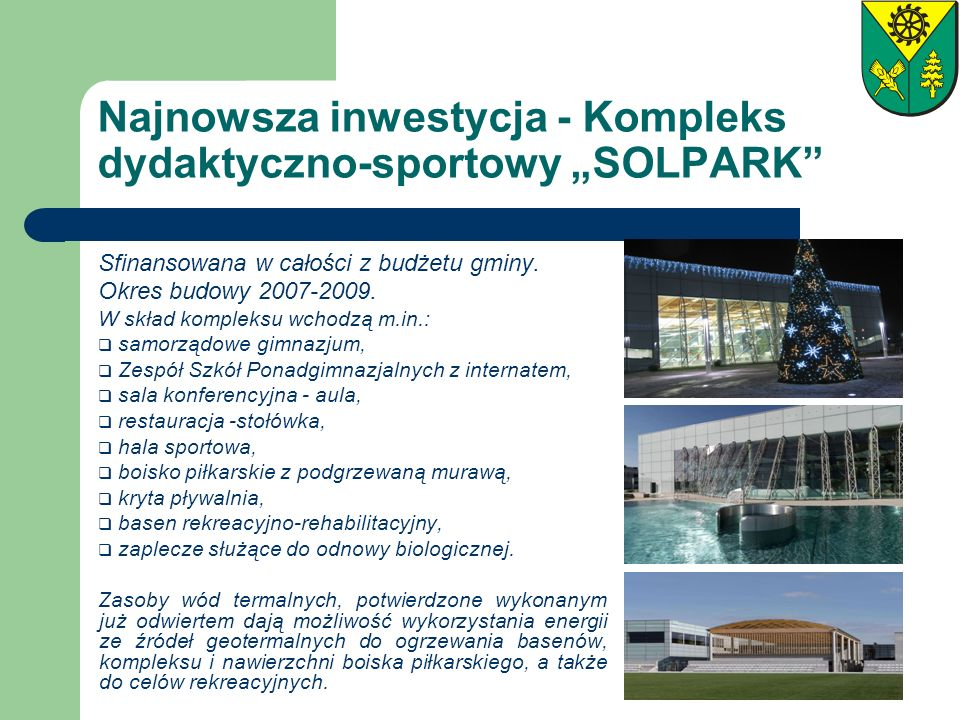 """Najnowsza inwestycja - Kompleks dydaktyczno-sportowy """"SOLPARK"""