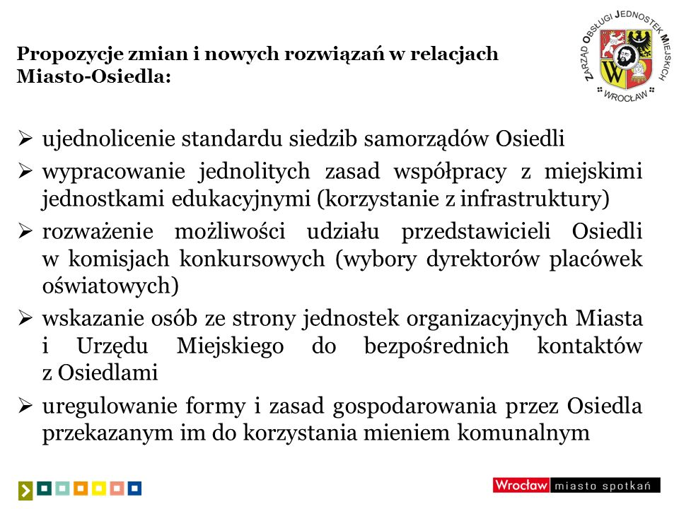 Propozycje zmian i nowych rozwiązań w relacjach Miasto-Osiedla: