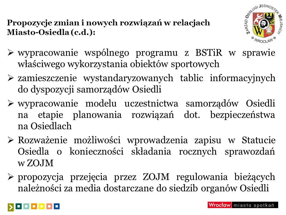 Propozycje zmian i nowych rozwiązań w relacjach Miasto-Osiedla (c.d.):