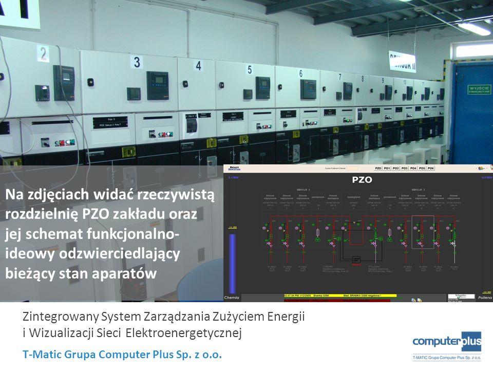 Na zdjęciach widać rzeczywistą rozdzielnię PZO zakładu oraz jej schemat funkcjonalno-ideowy odzwierciedlający bieżący stan aparatów