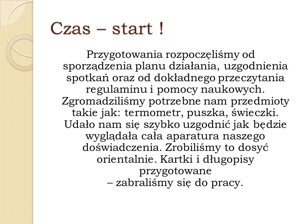 Czas – start !