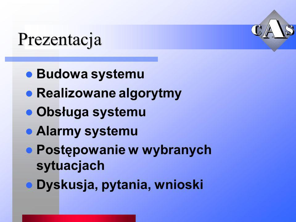 Prezentacja Budowa systemu Realizowane algorytmy Obsługa systemu