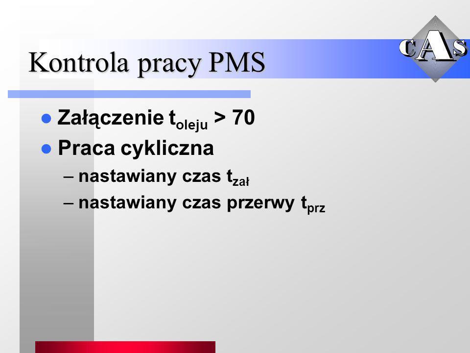 Kontrola pracy PMS Załączenie toleju > 70 Praca cykliczna