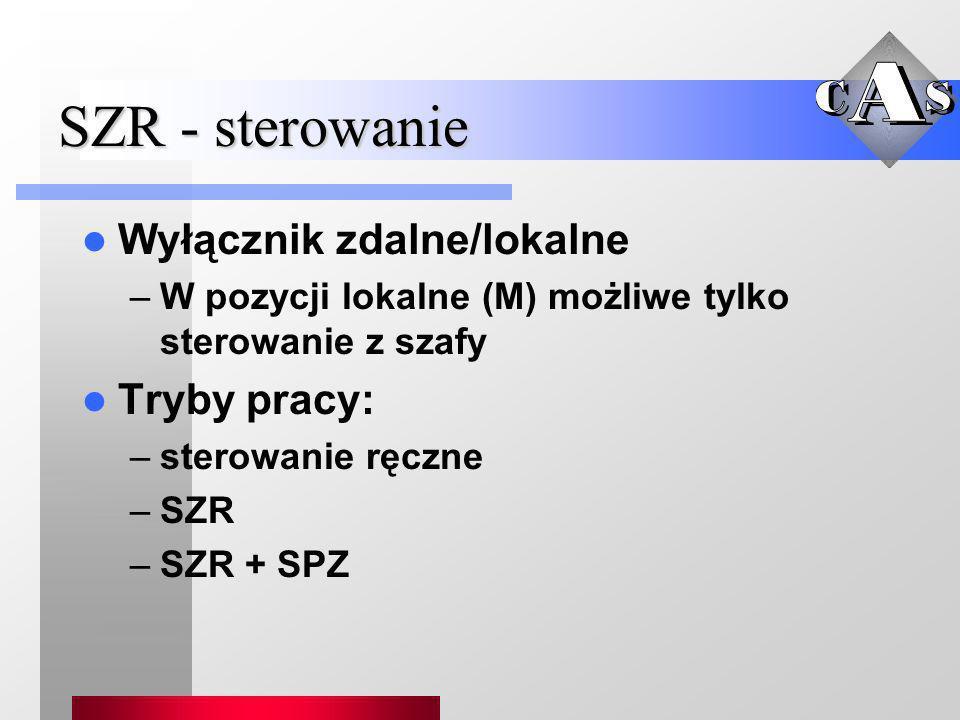 SZR - sterowanie Wyłącznik zdalne/lokalne Tryby pracy: