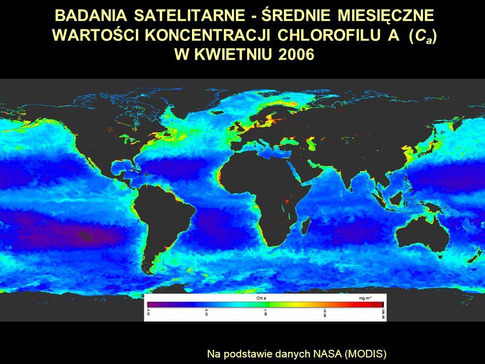 BADANIA SATELITARNE - ŚREDNIE MIESIĘCZNE WARTOŚCI KONCENTRACJI CHLOROFILU A (Ca) W KWIETNIU 2006