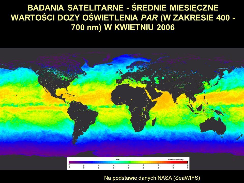 BADANIA SATELITARNE - ŚREDNIE MIESIĘCZNE WARTOŚCI DOZY OŚWIETLENIA PAR (W ZAKRESIE 400 - 700 nm) W KWIETNIU 2006