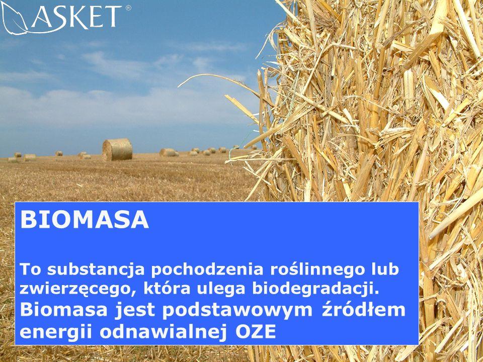 BIOMASA Biomasa jest podstawowym źródłem energii odnawialnej OZE