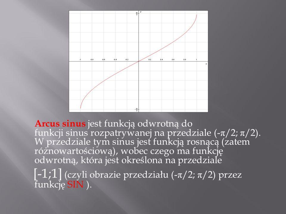 Arcus sinus jest funkcją odwrotną do funkcji sinus rozpatrywanej na przedziale (-π/2; π/2).