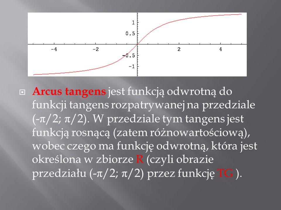 Arcus tangens jest funkcją odwrotną do funkcji tangens rozpatrywanej na przedziale (-π/2; π/2).