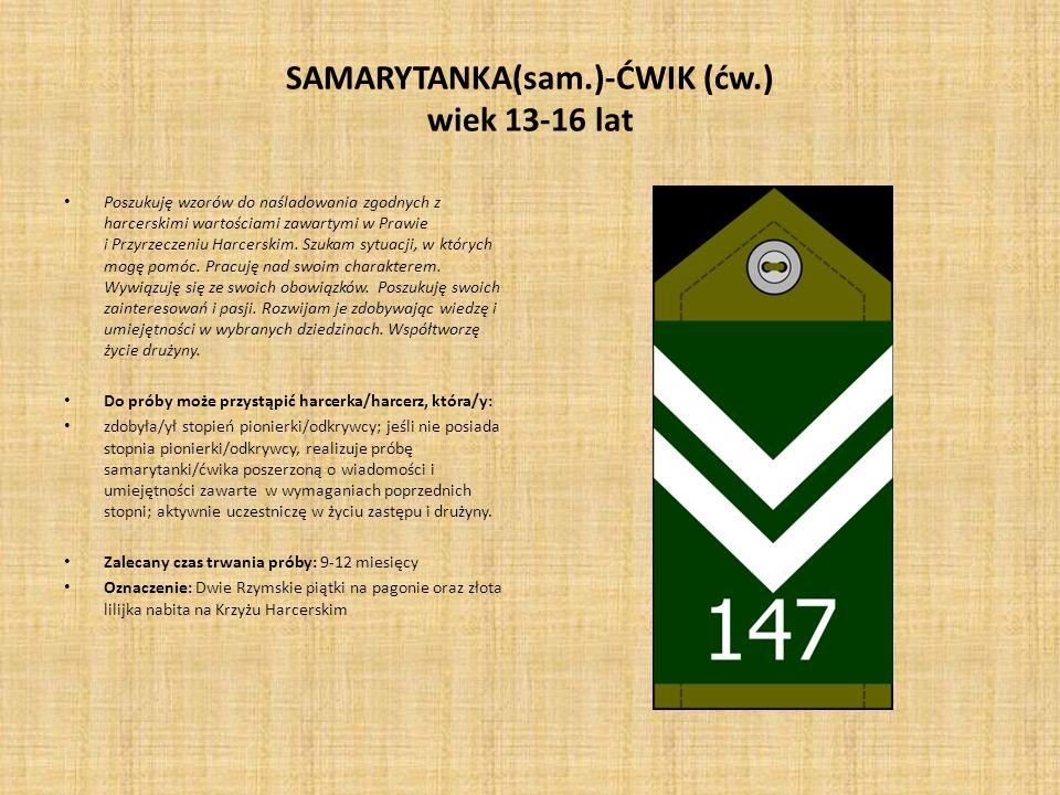 SAMARYTANKA(sam.)-ĆWIK (ćw.) wiek 13-16 lat
