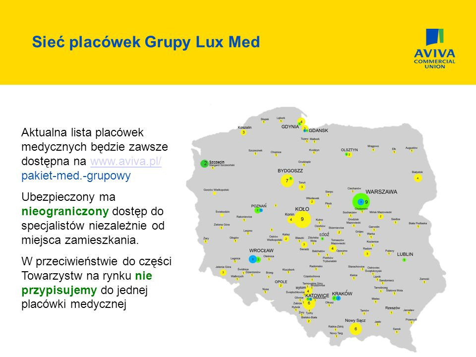 Sieć placówek Grupy Lux Med