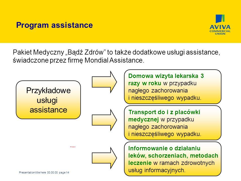 Program assistance Przykładowe usługi assistance