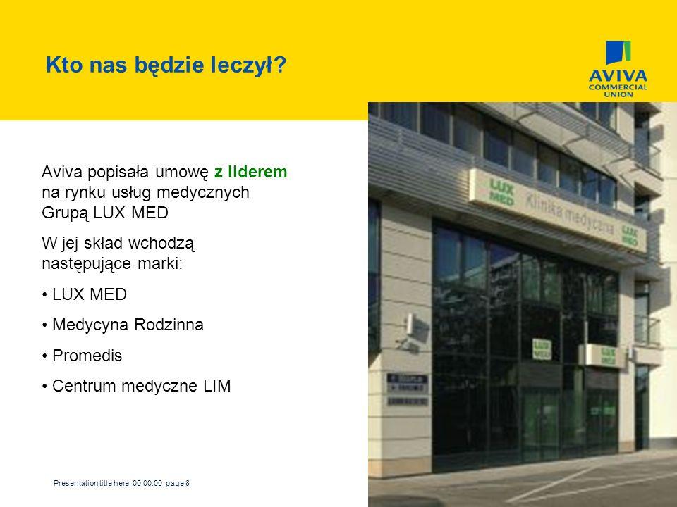 Kto nas będzie leczył Aviva popisała umowę z liderem na rynku usług medycznych Grupą LUX MED. W jej skład wchodzą następujące marki: