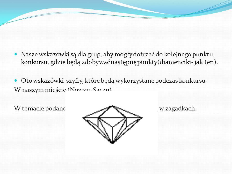 Nasze wskazówki są dla grup, aby mogły dotrzeć do kolejnego punktu konkursu, gdzie będą zdobywać następnę punkty(diamenciki- jak ten).