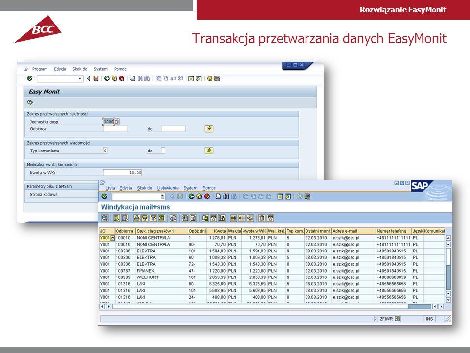 Transakcja przetwarzania danych EasyMonit