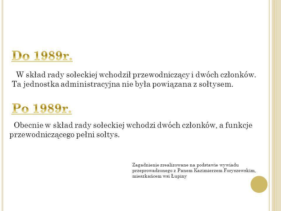 Do 1989r. W skład rady sołeckiej wchodził przewodniczący i dwóch członków. Ta jednostka administracyjna nie była powiązana z sołtysem.