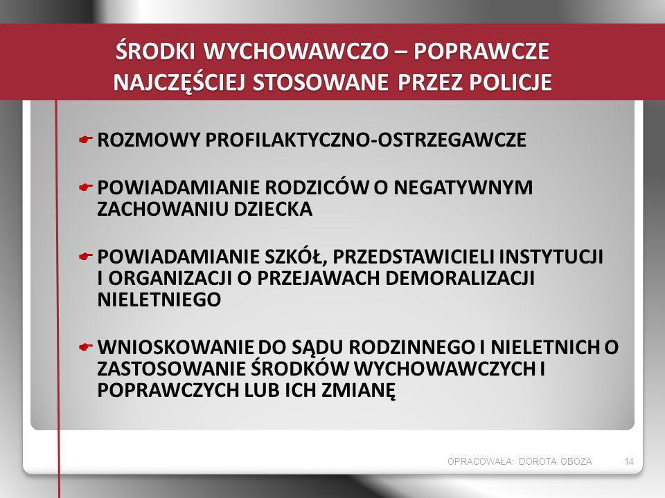 ŚRODKI WYCHOWAWCZO – POPRAWCZE NAJCZĘŚCIEJ STOSOWANE PRZEZ POLICJE