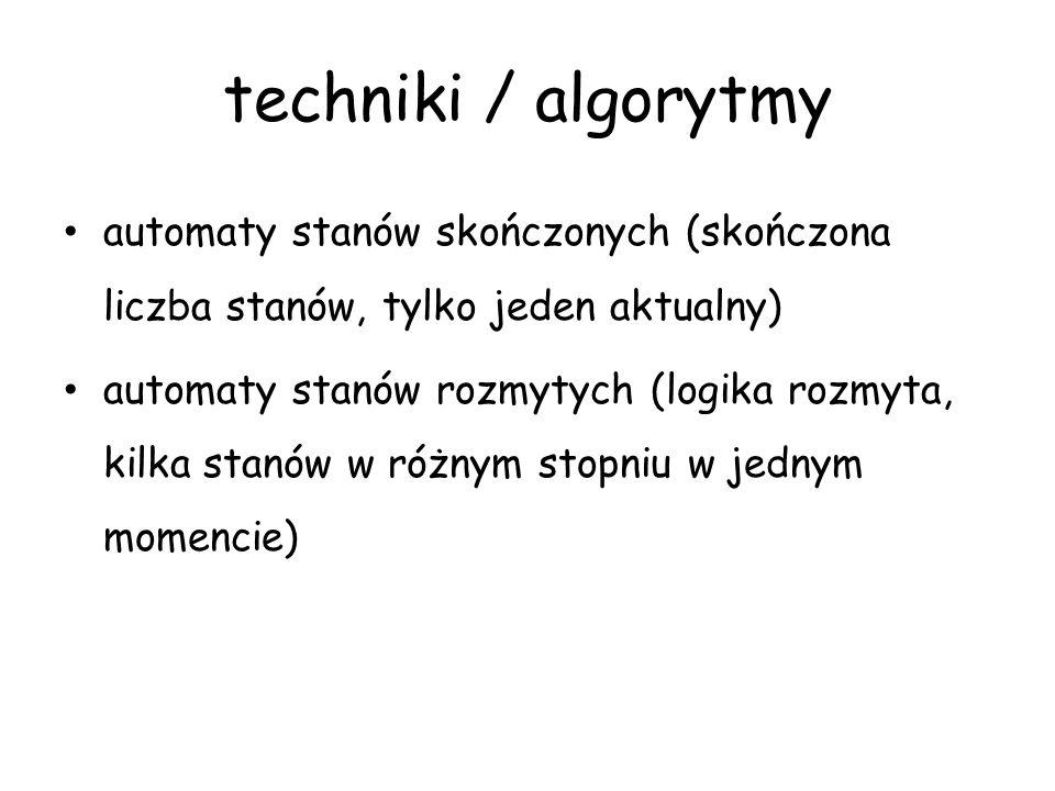techniki / algorytmy automaty stanów skończonych (skończona liczba stanów, tylko jeden aktualny)