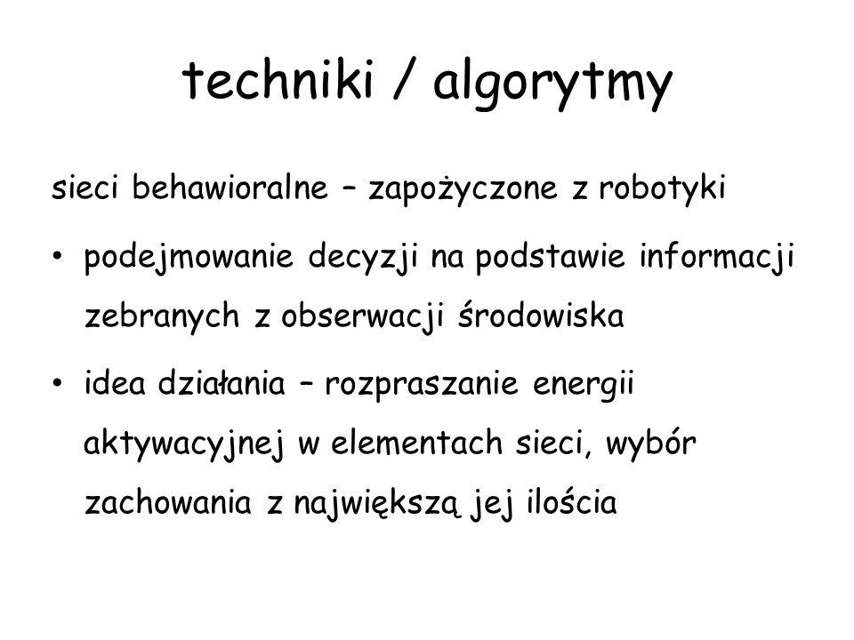 techniki / algorytmy sieci behawioralne – zapożyczone z robotyki