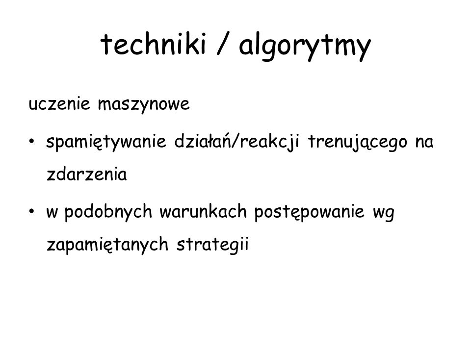 techniki / algorytmy uczenie maszynowe