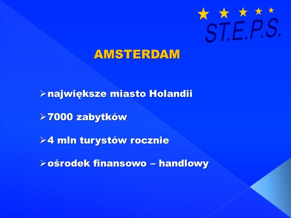 ST.E.P.S. AMSTERDAM największe miasto Holandii 7000 zabytków