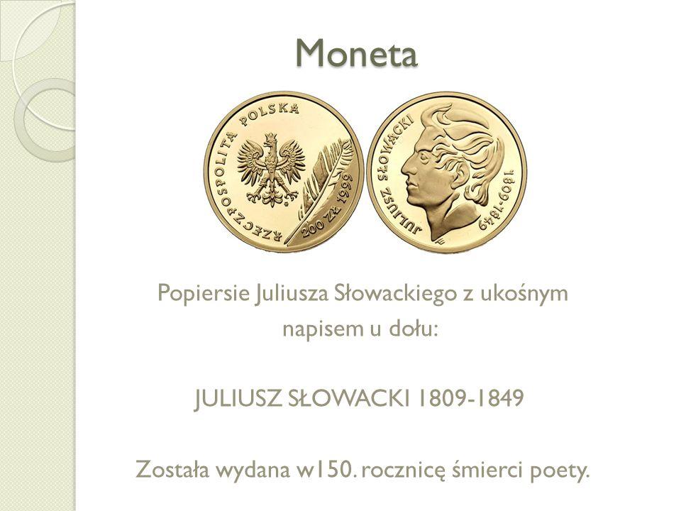 Moneta Popiersie Juliusza Słowackiego z ukośnym napisem u dołu: