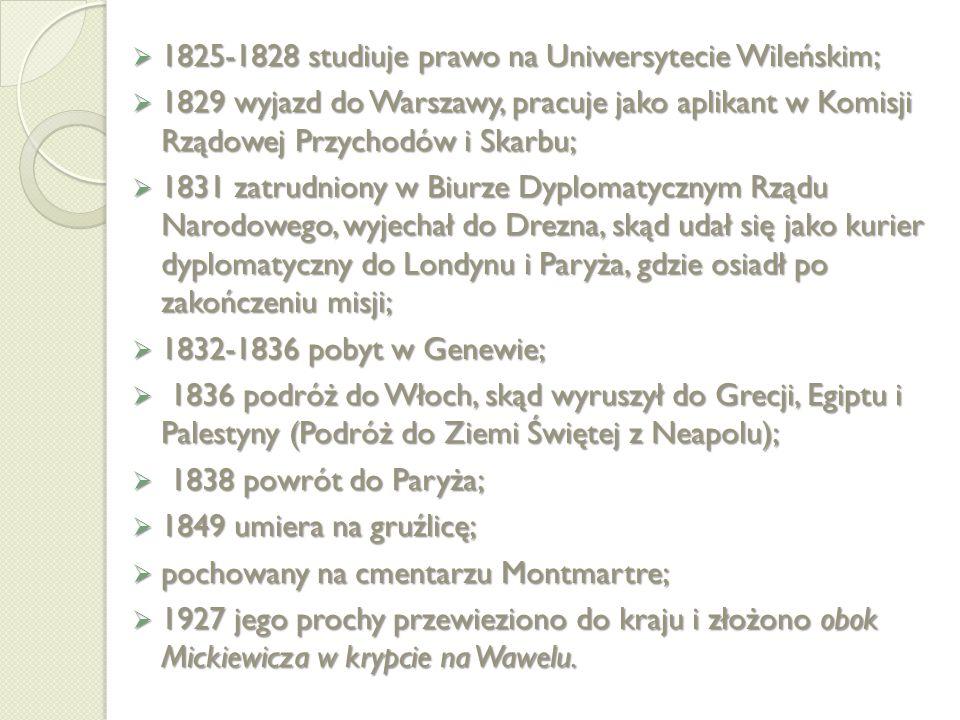 1825-1828 studiuje prawo na Uniwersytecie Wileńskim;
