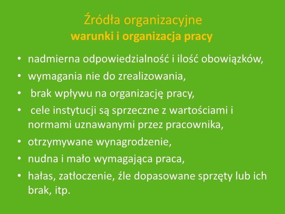 Źródła organizacyjne warunki i organizacja pracy