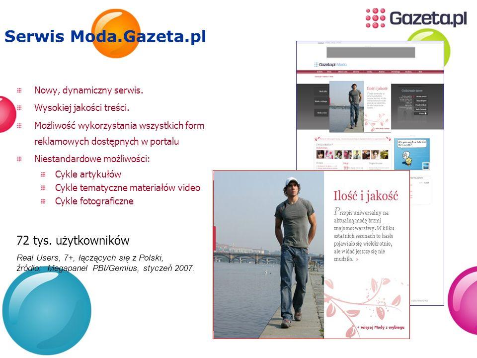 Serwis Moda.Gazeta.pl 72 tys. użytkowników Nowy, dynamiczny serwis.