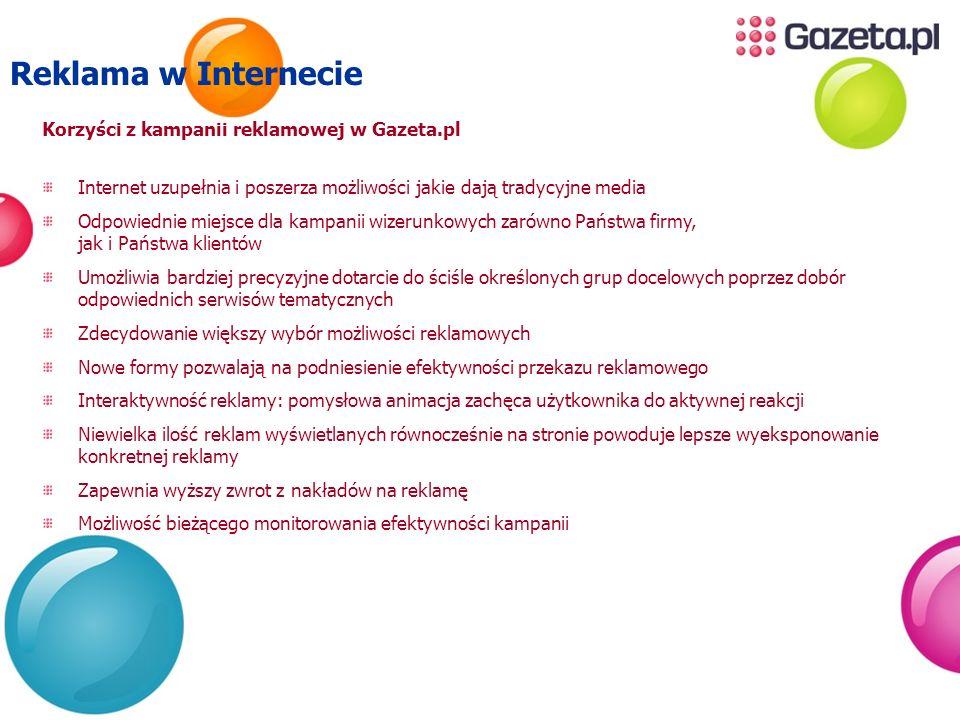 Reklama w Internecie Korzyści z kampanii reklamowej w Gazeta.pl