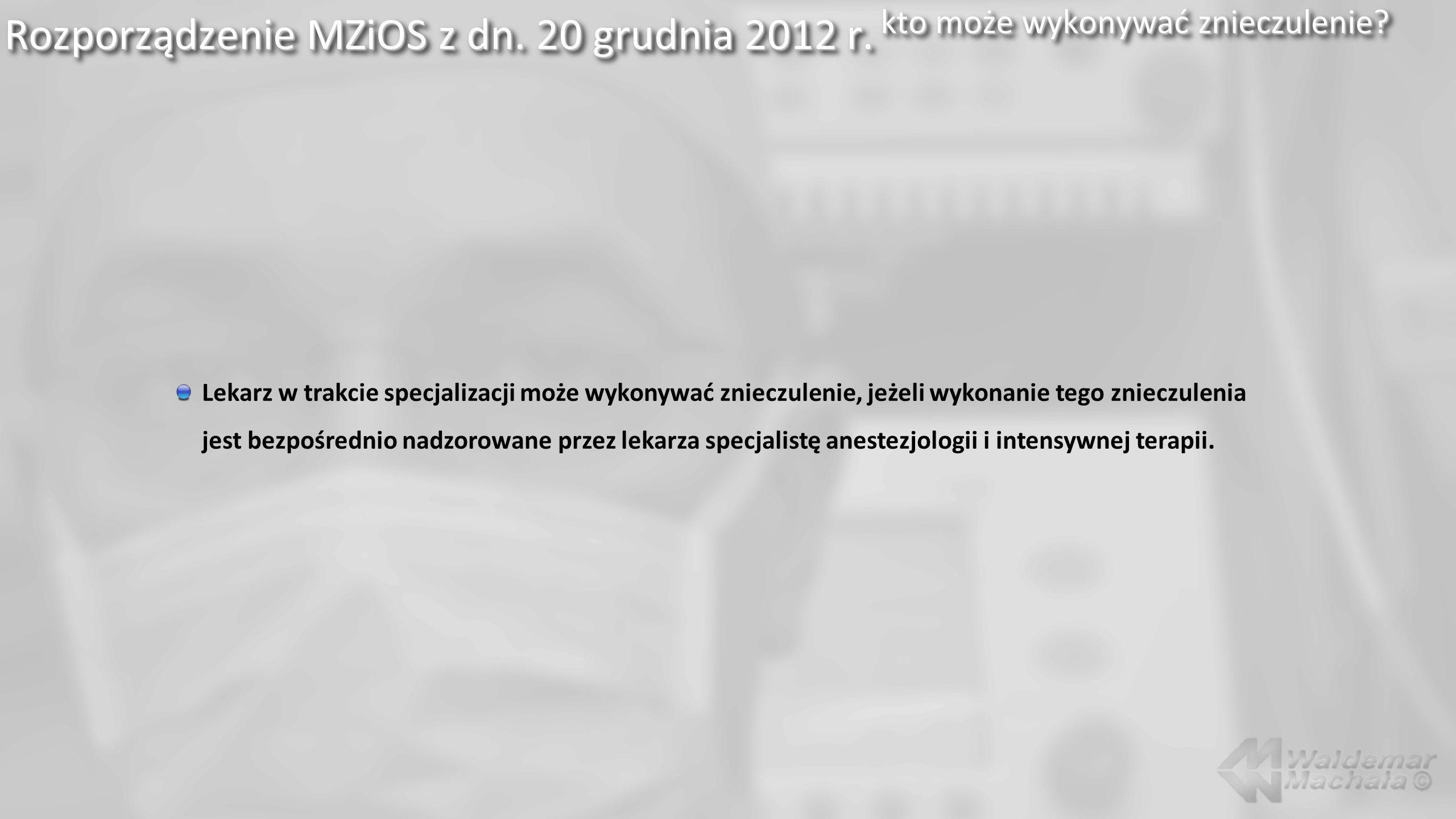 Rozporządzenie MZiOS z dn. 20 grudnia 2012 r