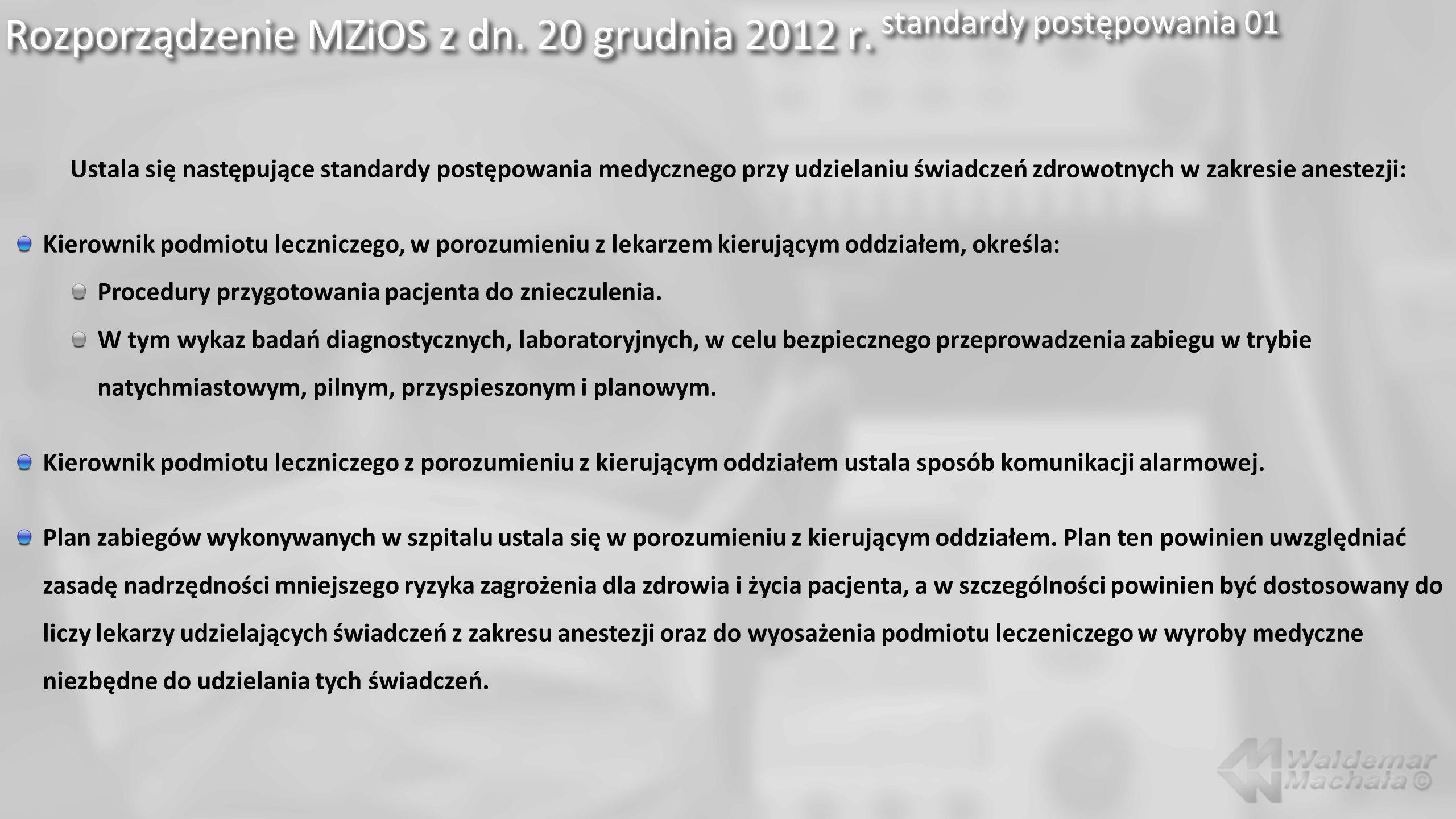 Rozporządzenie MZiOS z dn. 20 grudnia 2012 r. standardy postępowania 01