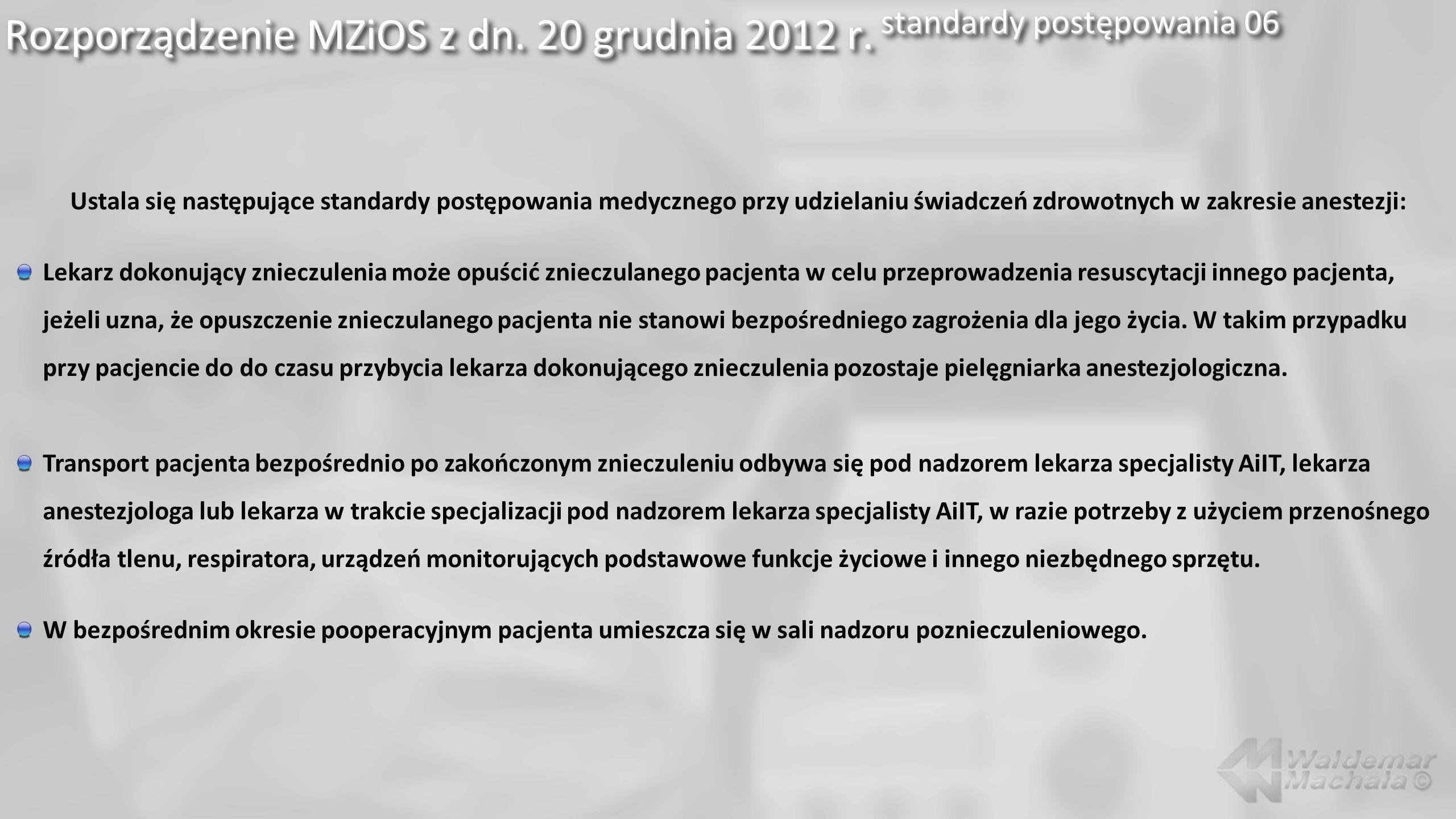 Rozporządzenie MZiOS z dn. 20 grudnia 2012 r. standardy postępowania 06