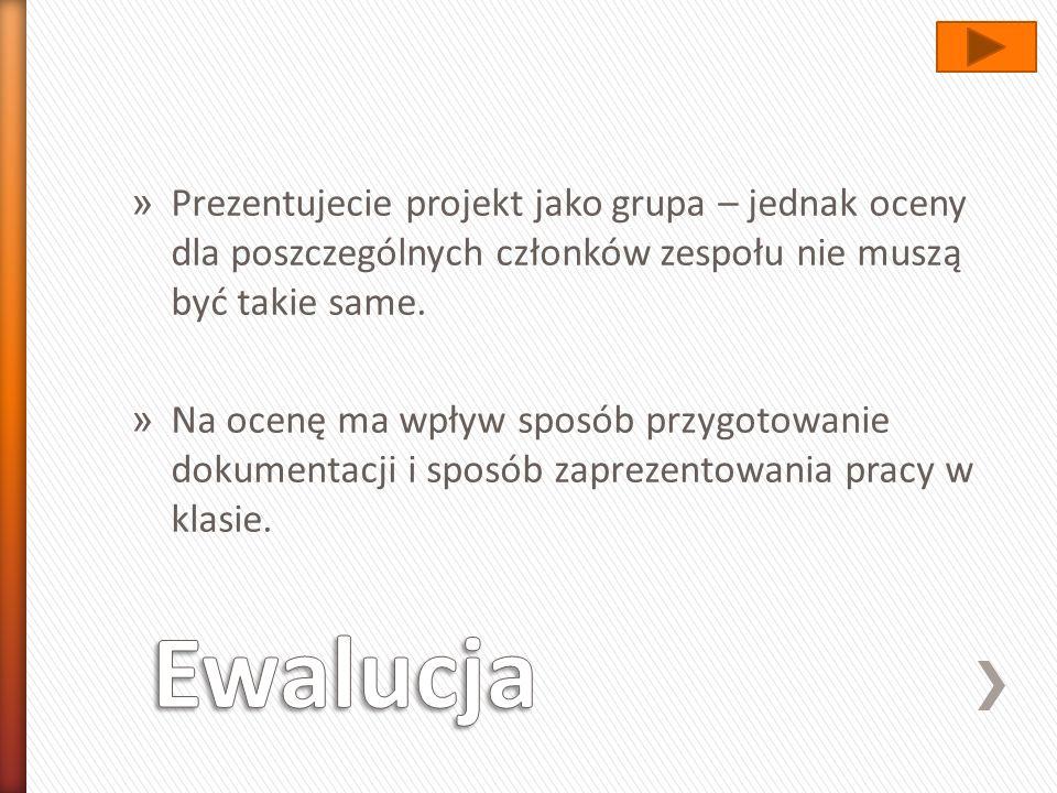 Prezentujecie projekt jako grupa – jednak oceny dla poszczególnych członków zespołu nie muszą być takie same.