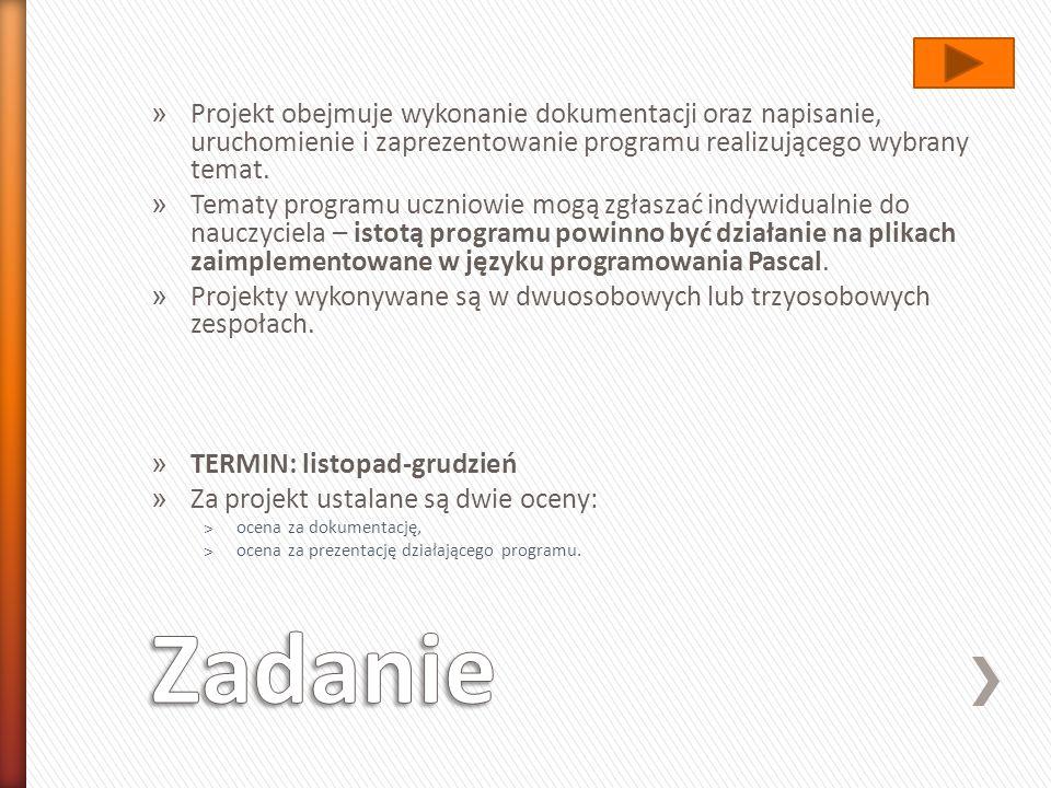 Projekt obejmuje wykonanie dokumentacji oraz napisanie, uruchomienie i zaprezentowanie programu realizującego wybrany temat.