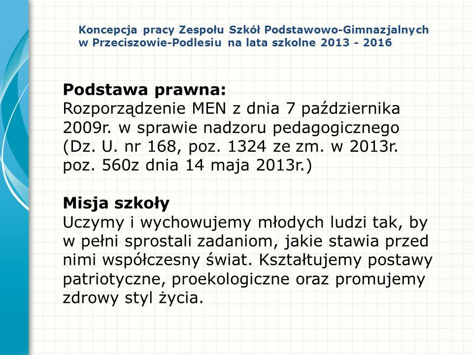 Koncepcja pracy Zespołu Szkół Podstawowo-Gimnazjalnych w Przeciszowie-Podlesiu na lata szkolne 2013 - 2016