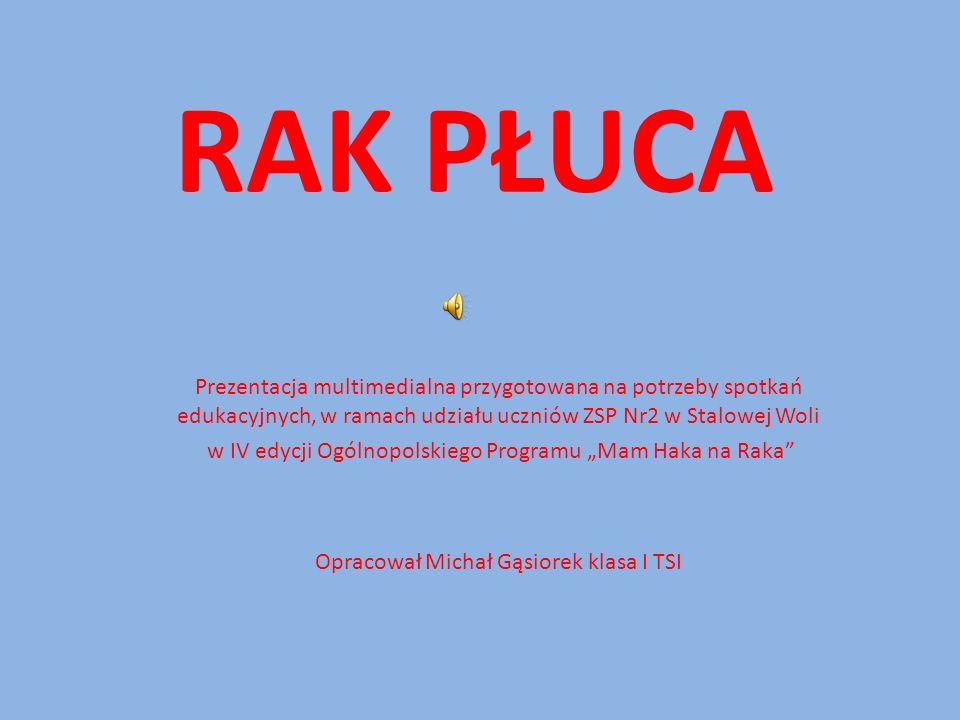 RAK PŁUCA Prezentacja multimedialna przygotowana na potrzeby spotkań edukacyjnych, w ramach udziału uczniów ZSP Nr2 w Stalowej Woli.