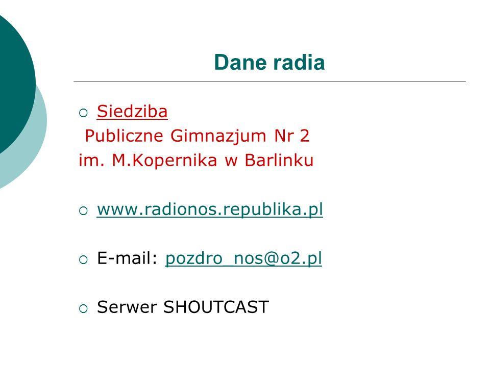 Dane radia Siedziba Publiczne Gimnazjum Nr 2